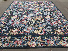 Old Hand Made Traditional Portages Wool Green Needlepoint Aubuson 359X307cm