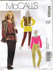Fur Vest Raglan Sleeve Top Tunic Tapered Pant McCalls Sewing Pattern 14 16 18 20