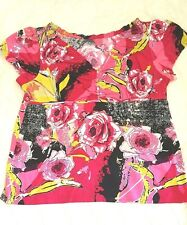 Lane Bryant Women's 22/24 Stretch Pink Yellow Floral Top blouse 3X Short /S EEUC