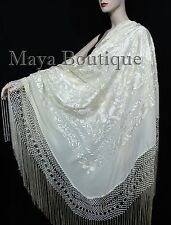 "Ivory Flamenco Embroidere​d Silk Piano Shawl Wrap Flowers & Birds 88"" Maya"