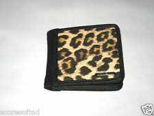 Vans shoes graham bi-fold wallet CHEETAH PRINT & BLACK ID HOLDER NEW FREE SHIP