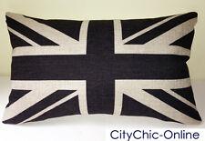 50cm x 30cm GDS Retro Vintage Black Union Jack British Flag Linen Cushion Cover