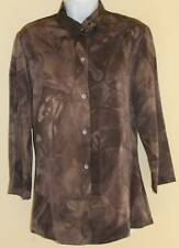 MIZONO Boutique Gray Luxury art-to-wear Printed Silky Rayon Tunic Top Sz XS