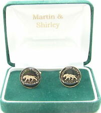 INDIA TIGER Cufflinks made from old coins in Black and Gold