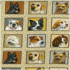 Dogs Squares Doggie Delight Panels Quilting Fabric 55 Panels Each 8cm Square