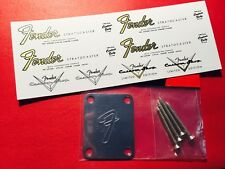 Fender BIG F chrome neck plate & 4 Gold metallic Waterslide decals w/extras