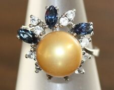 VERY PRETTY LADIES DESIGNER FASHION RING INSET WITH SIMULATED PEARL AND DIAMONDS