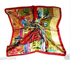 New Women's 100% Silk Square Scarf Shawl Wrap Art Oil Painting Print Scarves
