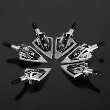 6Pcs Broadheads Steel Blades 100 Grain Hunting Archery Arrow Heads Tips Crossbow