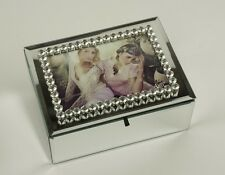 Large Mirrored Bling Storage Box Photo Frame Jewellery Boxes Wedding Gift