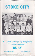 1965/66 STOKE CITY V BURY 09-03-1966 FA Youth Cup 5th Round Replay