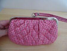 Vera Bradley Pink & White Gingham Silk Clutch/Wristlet Bag, Excellent Condition