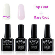 4x Soak off UV Gel Nail Polish Set Base Top Coat Gel French Nails Manicure Kit