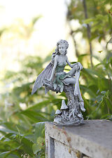 Fairy on Branch with Mushrooms Home or Garden Gazebo Koi Pond Statue Art