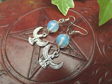 Isis & Moonstone 925 Sterling Silver Earrings  Egyptian Goddess Pagan Witch