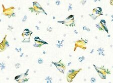 Fat Quarter Flow Blue Garden Birds Cotton Quilting Fabric Red Rooster Fabrics