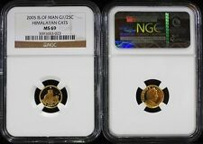 2005 1/25th Ounce United Kingdom Isle Of Man Gold Himalayan Cats NGC MS 69
