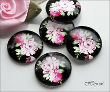 5 Black Pink Victorian Rose 18mm Round Glass Flower Flatback Cabochons Cabs