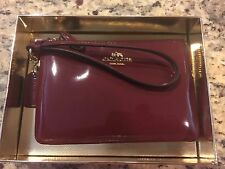 COACH Small L-Zip Wristlet Wallet Leather 55739 Burgundy Gold Christmas Gift Box