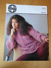 """Knitting Pattern for Woman's Sweater, Fan & Feather, Chunky,  32-38"""" bust"""