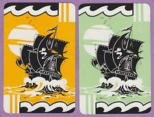 2 SINGLE VINTAGE SWAP PLAYING CARDS BOATS TALL SHIPS GALLEONS NZ FOR DE LA RUE