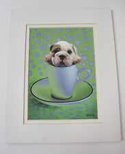 Collectable Keith Kimberlin English Bulldog Puppy in Tea Cup Print Colorful 8X10