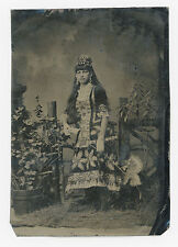 LARGE TINTED TINTYPE WOMAN POSSIBLY A CIRCUS PERFORMER IN VERY ELABORATE OUTFIT