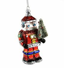 Gisela Graham Painted Red Glass Santa Robot Sparkly Festive Christmas Ornament