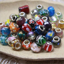 50p Mixed SILVER MURANO GLASS BEAD LAMPWORK Fit European Charm Bracelet 2.5g/pcs