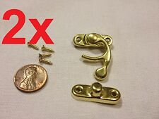 2pcs GOLD (M) Latch clasp small mini doll house Antique hook Carved box lock c16