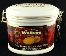 RARE LARGE WALKERS BISCUITS CERAMIC COOKIE RESEALABLE CANISTER JAR TIN SCOTLAND