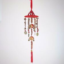 """Chinese Lucky Feng Shui Wind Chime Hanging Coins Drums - Copper Metal 20""""L New"""