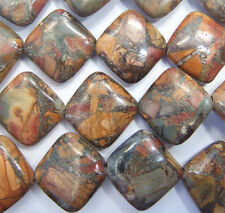 1 x 15.5 inch strand of Picasso Jasper Rectangle Beads - 14x14mm NEW PRICE