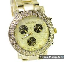 mens big gold tone hip hop CZ ice out bling dial watch link bracelet man