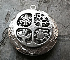"Silver TREE OF LIFE 4 SCENE PHOTO LOCKET on sterling 18"" chain necklace"