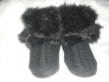WOMENS  L BLACK CABLE KNIT FAUX FUR BOOTIE SLIPPERS BOOTS WOW! ADORABLE!  NWT