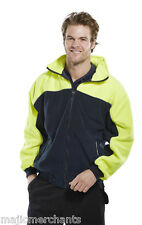 High Quality Yellow Navy Work Fleece Small Zip Jacket Hooded Reflective Coat