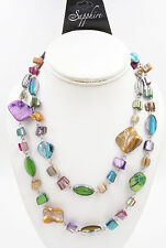 "New Eye Catching Colorful 40"" Long Mother of Pearl Shell Necklace NWT #N2231"
