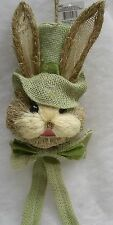 Hanging Sisal Bunny Rabbit w/ Green bonnet for Easter Decor, Wreath 5 x 10