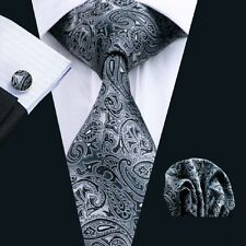 New Black Paisleys Mens Silk Tie Set with Matching Hankerchief and Cuff Links