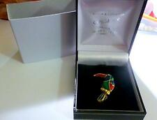 BROOCH GUILLOCHE  ENAMEL STUNNING  PAINTED BIRD - GORGEOUS COLOURS