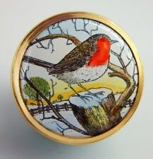 HALCYON DAYS ENAMELS - Mini Box with Snap on Lid - Winter Bird with Red Chest