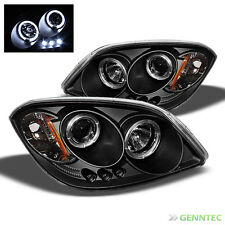 For 05-10 Chevy Cobalt Twin Halo LED Projector Headlights Blk Head Lights Pair