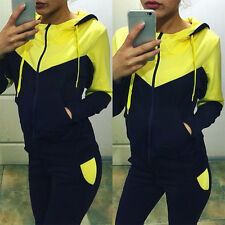 Women 2Pcs Tracksuit Hoodies Sweatshirt & Pants Sets Sport Wear Casual Gym Suits