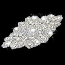Clear Crystal Embellishment Rhinestone Applique Bridal Dress Sash Decor DIY