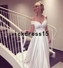 Simple Bohemian Wedding Dress Beach Off Shoulder Satin Bridal Gown Custom 6 8 10
