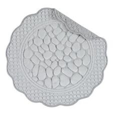 "Set of 4,Pattern Quilted,17"" Round Placemat,Pebbles,Gray,862601630"