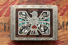 Vintage Hand Made Turquoise Coral Abalone Thunderbird Inlay Western Belt Buckle