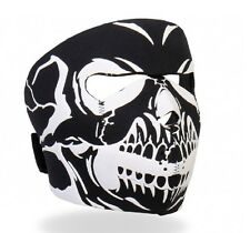 Raised White Ink on Black Skull Neoprene Full Face Mask ATV Ski Biker Reversible
