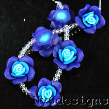 25x25x12mm Blue Synthetic Rose Beads 6pcs (BPD78)a